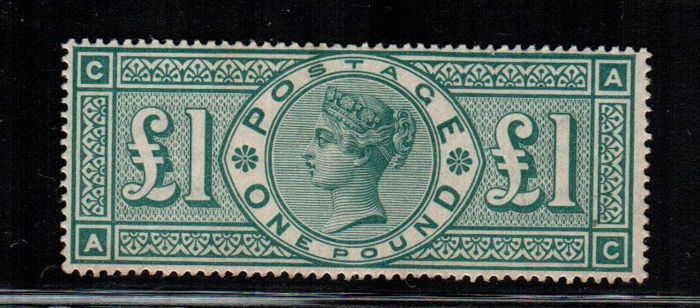 "Great Britain 1891 - 1 Sterlina verde ""Regina Vittoria"" - Stanley Gibbons 212"