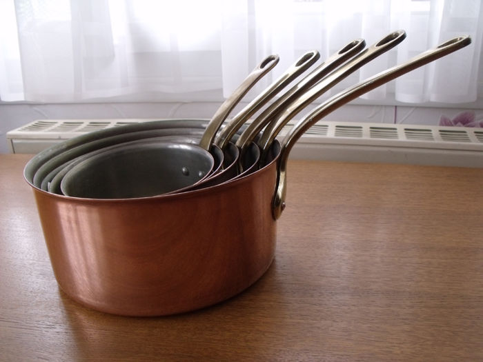 Lot of 5 tin-lined copper pans