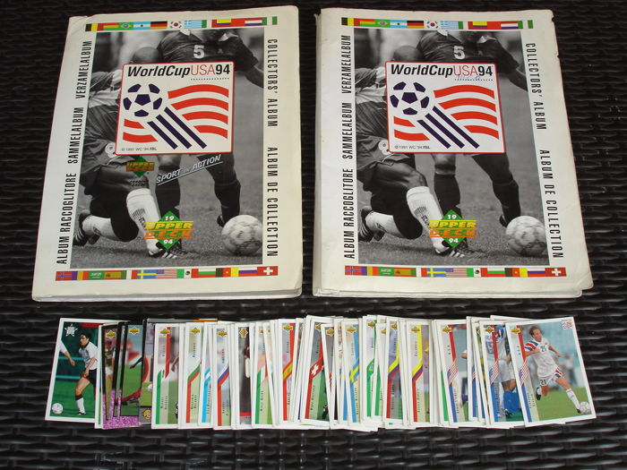 Variant Panini - Upper Deck World Cup U.S.A. 1994 - Complete album + 2nd album with 230 double loose pictures + 76 loose pictures outside the album