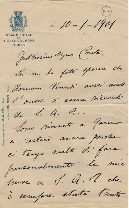 Mario Pasquale Costa Composer - Autographed letter regarding a consultation with the King Vittorio Emanuele III to apologize - 1901