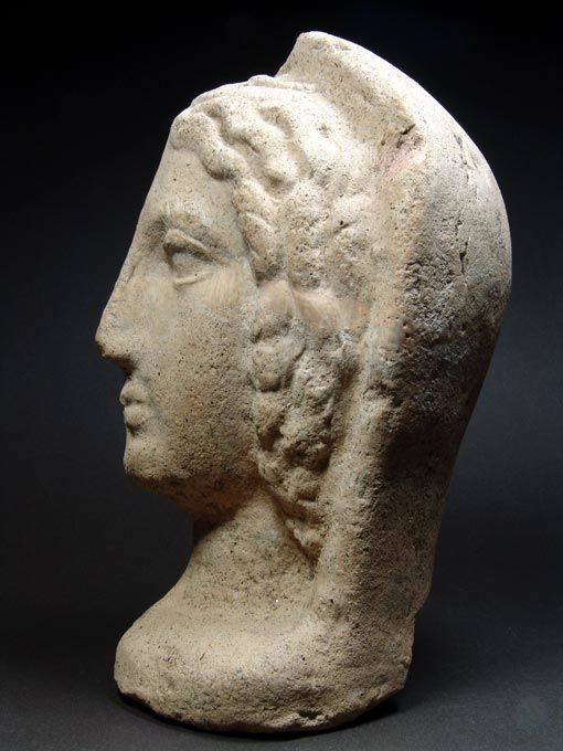 Etruscan Terracotta Votive Profile Head - H. 24 cm