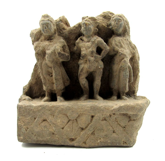 Gandhara Schist Panel with 3 Figures: the Buddha, Vajrapani and an attendant. 14x14.5cm