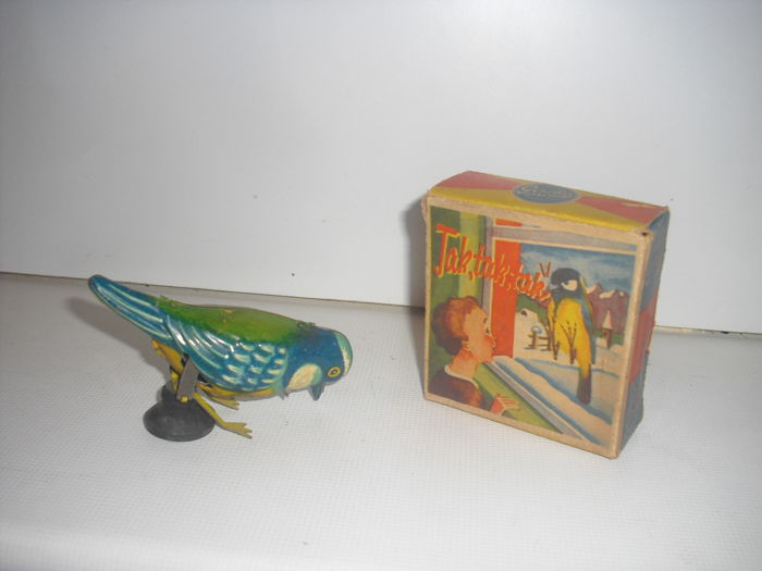 GESCHA 36/1 tin bird TAK TAK TAK in original box 1950s Germany