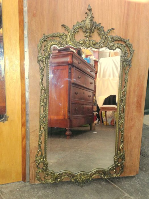 Mid 20th Century - Heavy Carved Brass Framed Mirror- Louis XV