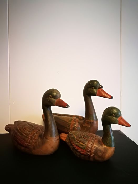Three Wooden Ducks First Half Of The 20th Century Wood Hand