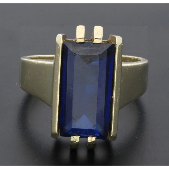 14k - Yellow gold ring set with sapphire - Ring size: 16.25 mm