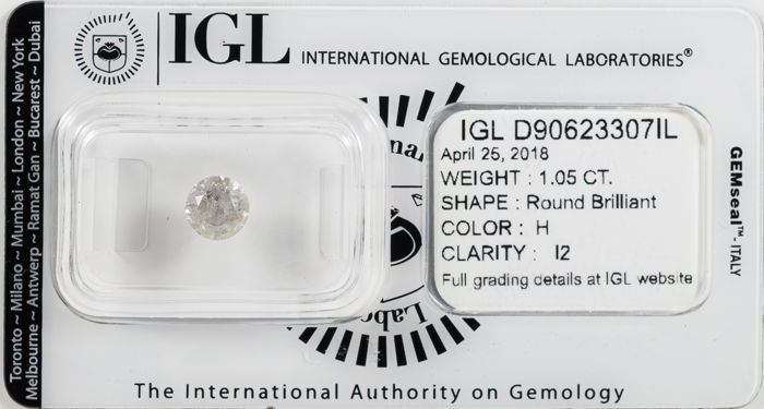 1.05 ct brilliant cut diamond H / I2 *** No Reserve ***