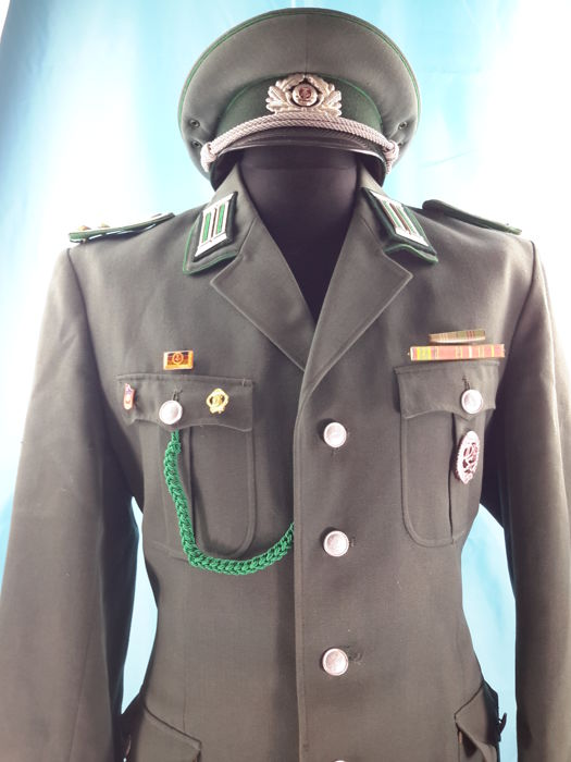 GERMANY - Original and Historical, DDR Vintage German Uniform - Jacket , Pants (new with Tag), Visor Cap, Medals, Ribbon