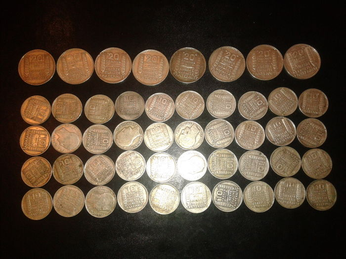 France - Lot de 48 monnaies (10 et 20 Francs) 1929/1939 - Silver