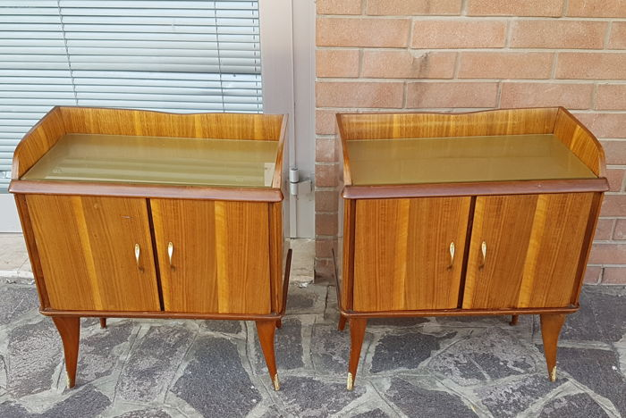 Pair of vintage walnut bedside tables, Italy, 1960s