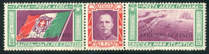 Italy Kingdom 1933 - Air Mail Service of triptych state - Sassone N. 1