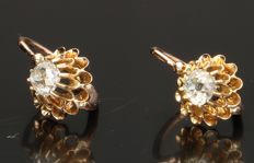 18 kt Yellow gold earrings with diamond - Length approx. 15 mm