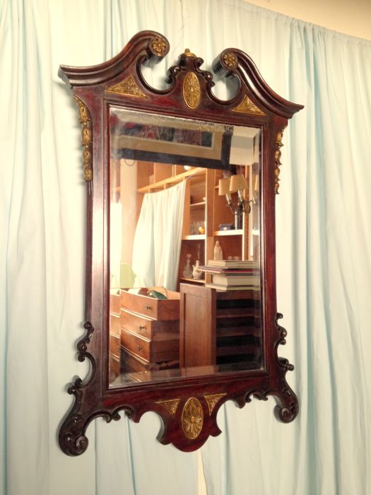 Regency style - Ca 1900 Wooden Mirror w/ Brass Gilded Details and broken arch pediment on top