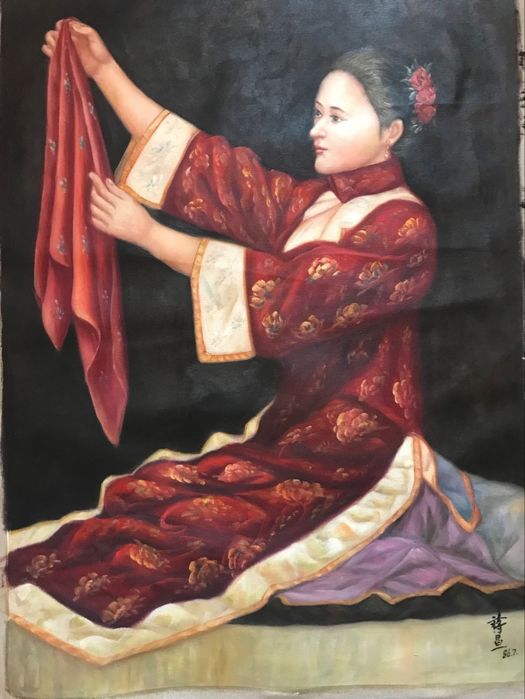 Oil painting in - China - late 20th C