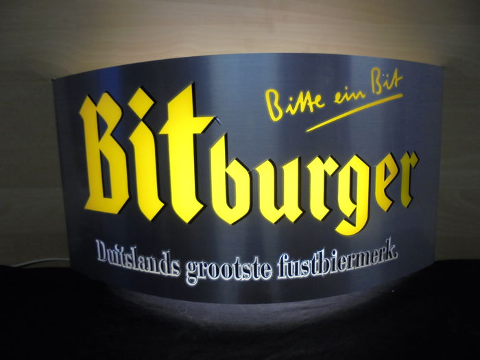 Bitburger - 'Bitte ein Bit' - illuminated sign - 21st century