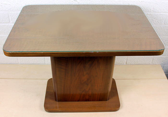 A Vintage Oak Side Table With Glass Top, The Netherlands, 1960s