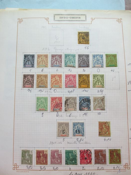 Indochina 1889/1944 - Collection of stamps with air mail and tax