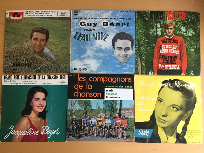 French chansons - lot of 18 singles, EP's and LP's - Marcel Amont
