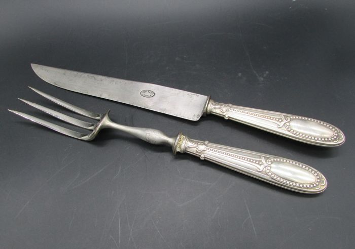 Old Louis XVI style silver-plated metal roast cutlery silver hallmarked with beads decorations