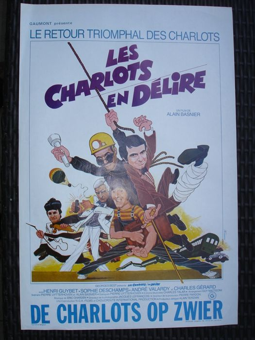 "7 movie posters from comedy movies with ""les charlots, Jacques Dufilo, Terence Hill and many others "" original Belgian version"