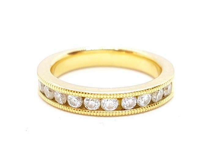 Ring - half band - 18 kt yellow gold - Diamonds 0.40 ct - Size 50 EU