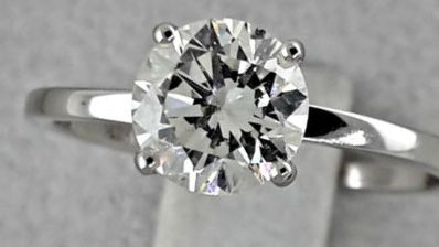 IGL 1.11 ct F/VS1 round diamond ring made of 18 kt white gold - size 6.5