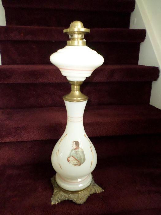 Opaline glass and brass oil lamp - depicting Napoleon - late 19th century