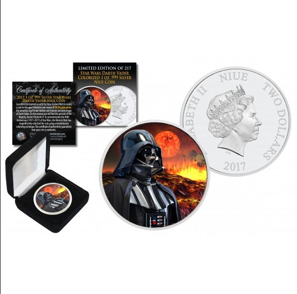 Niue - 2 Dollars 2017 'Star Wars - Darth Vader Mustafar Galactic Empire Backdrop' - Colour Edition  - with box & certificate - edition 217 pieces - 1 oz silver