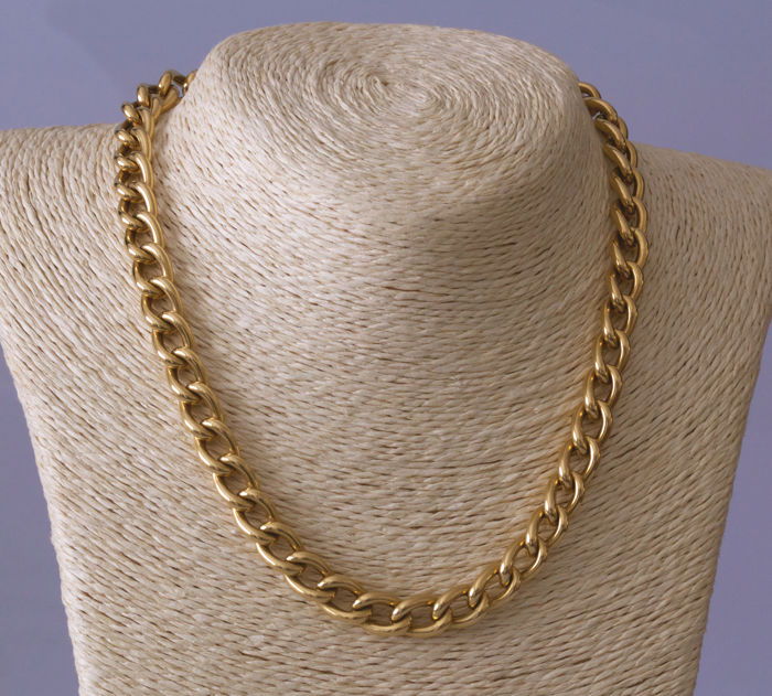 Yellow gold choker with gourmette links - length 43 cm