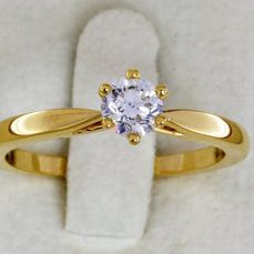 Gold solitaire ring with diamond - Size 54