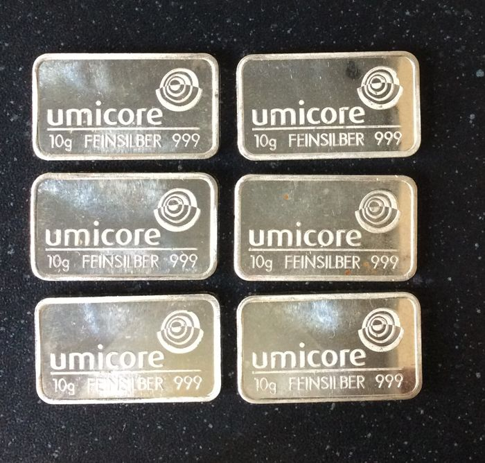Umicore - 6 x 10 grams - 999/1000 - Minted