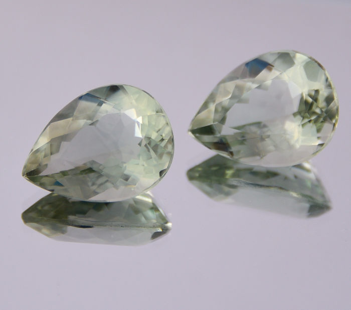 Prasiolite pair - Green - 15.39 ct in total