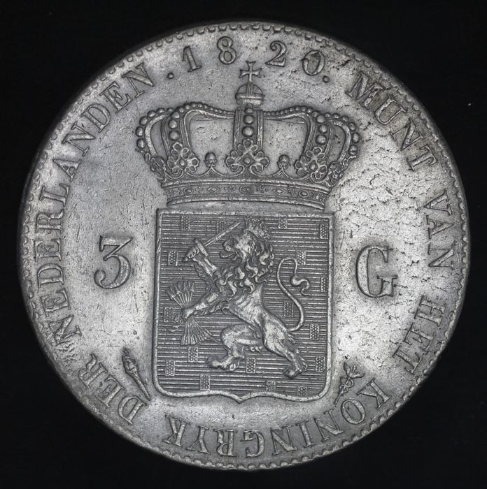 Netherlands - 3 Gulden 1820 U Willem I - Silver