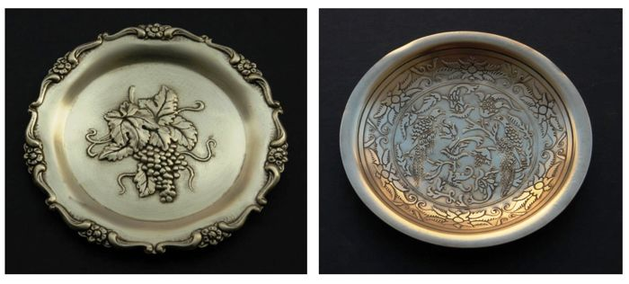 Two Antique Solid Brass Wine Trays / Dishes, Greece, ca. 1930s
