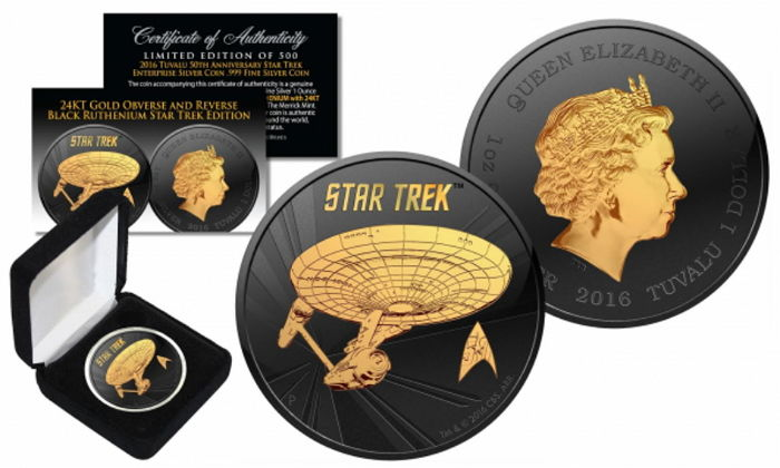 Tuvalu - 1 dollar - 2016 'Star Trek Enterprise' - black ruthenium gold-plated edition - Edition only 5,000 pieces - 1 oz 999 silver