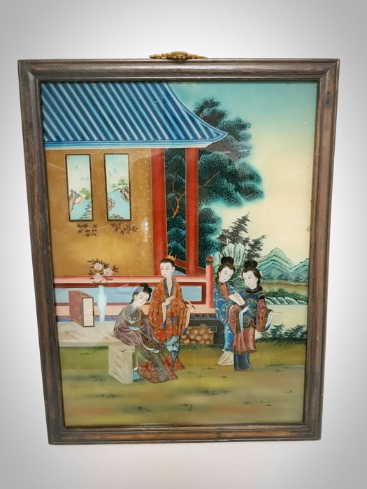 A large modern reverse glass painting - China - late 20th–21st century
