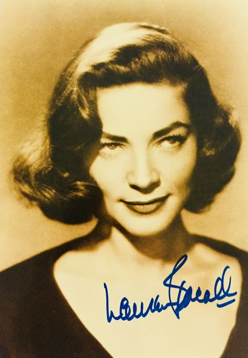 Lauren Bacall - Authentic & Original Signed Autograph in Amazing Card ( 11 x 16 cm ) - With Certificate of Authenticity