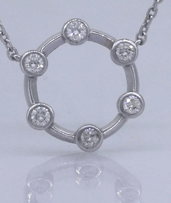 14 kt white gold Pendant on a necklace with 6 brilliant cut diamonds of 0.25 ct,****No reserve price***