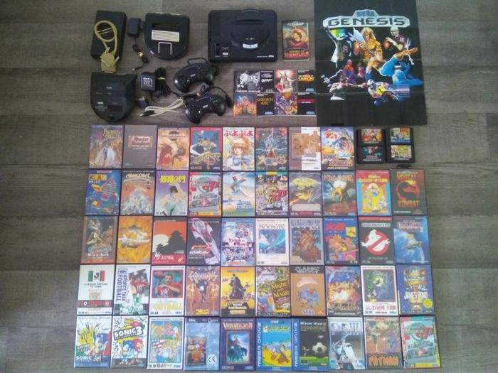 HUGE Sega Mega Drive lot - console, Power Base converter, Magic Drive 32M, 50+ games & more - many rare games & items