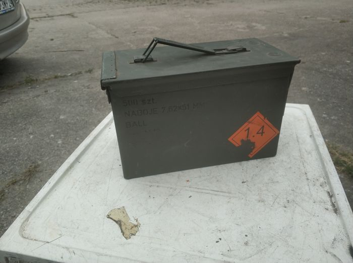 3 x metal chest of ammunition, a military chest