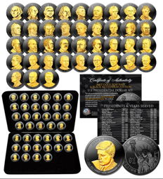USA - 39 x $1-complete collection of U.S. presidential dollar - black ruthenium gilded Edition - with box & certificate