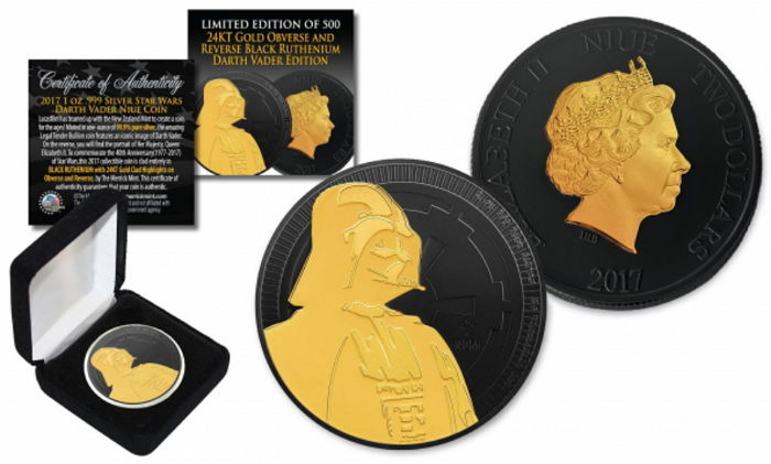 Niue - 2 Dollars 2017 'Star Wars - Darth Vader' Ruthenium/Gold refined - with box & certificate - edition of 500 pieces - 1 oz silver