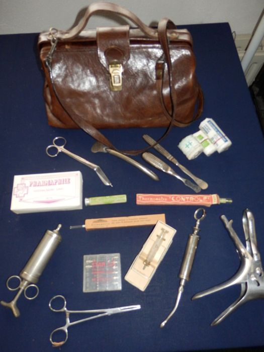 Leather doctor's bag with contents