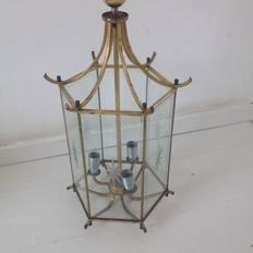 Large-size copper hallway lamp - hexagonal with glass walls and fan polishing - three light-points - France - 1950