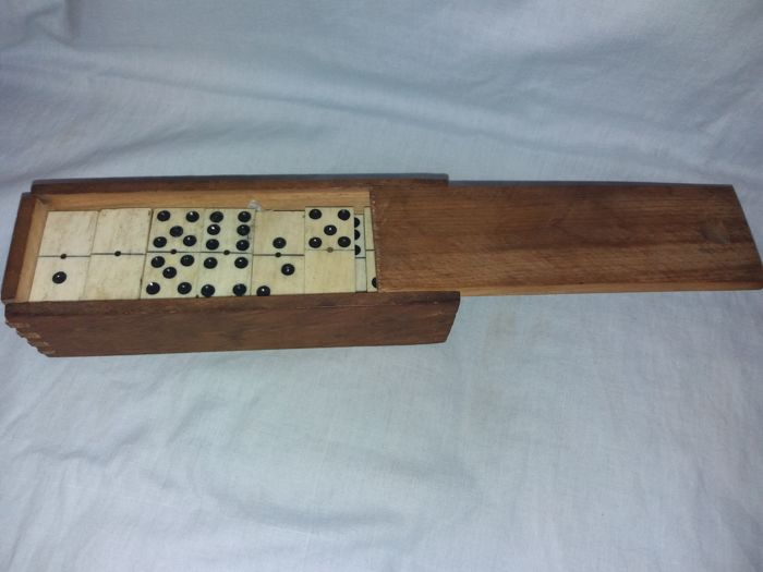 Antique Wooden Dominoes Box With Tiles In Bone And Ebony And