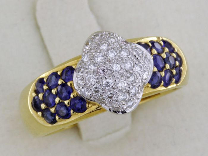 18 kt gold ring - 1.25 ct sapphire and diamonds -