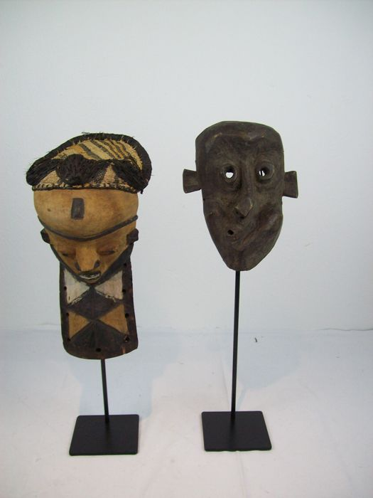 Two PENDE Masks, MUYOMBO, and West Pendé, Africa Congo incl. Stands