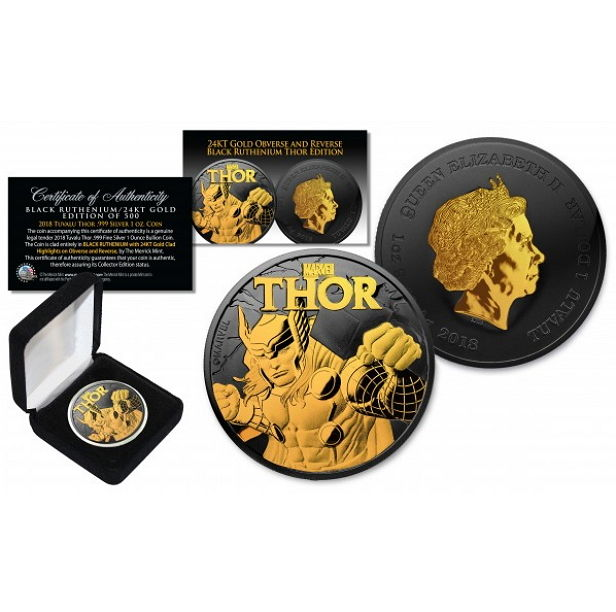"Tuvalu - 2018 $1 ""Marvel Thor"" black ruthenium gold-plated edition only 500 pieces - 1 oz silver"