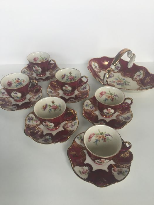 Zeh Scherzer - Crockery for 6 persons - Bavaria Germany - Red & Gold