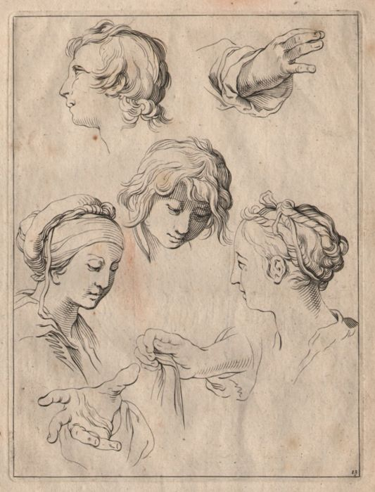 Abraham Bloemaert (1564-1651) - Drawing study of heads and hands
